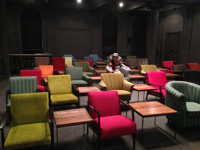 colorful chairs, film screening room