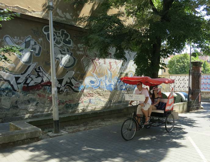zagreb graffiti, streets, cycle rickshaw bicycle