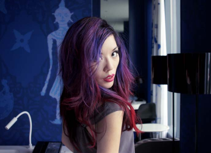 purple haired girl