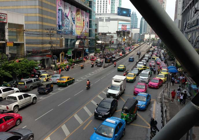 bangkok traffic, streets with cars