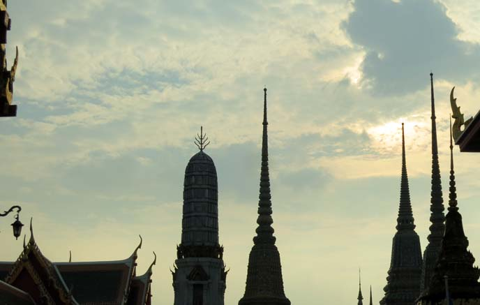 silhouette temple spires, towers