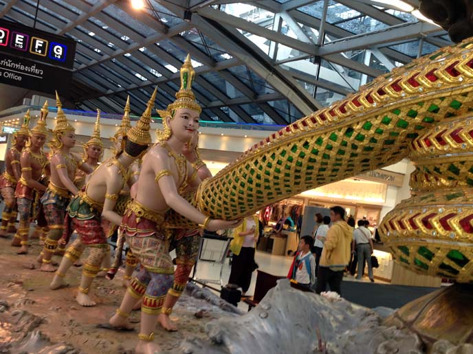 bangkok airport statue, churning of sea