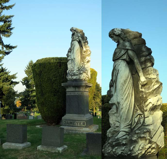 art nouveau tombstone, graveyard