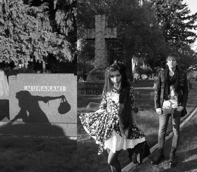 goth cemetery photoshoot, japanese graveyard