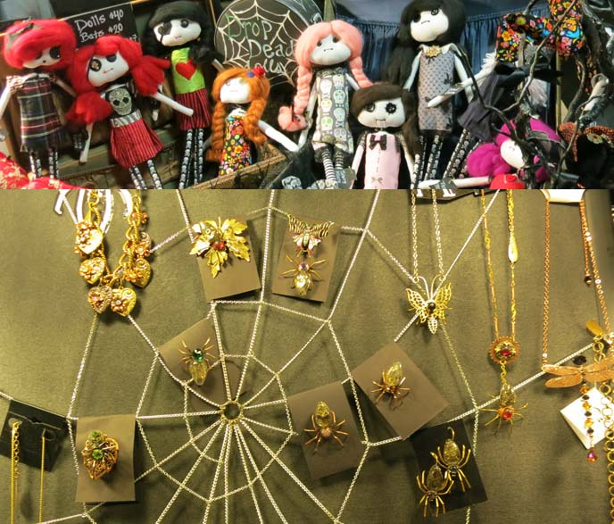 drop dead dolls, spider web jewelry