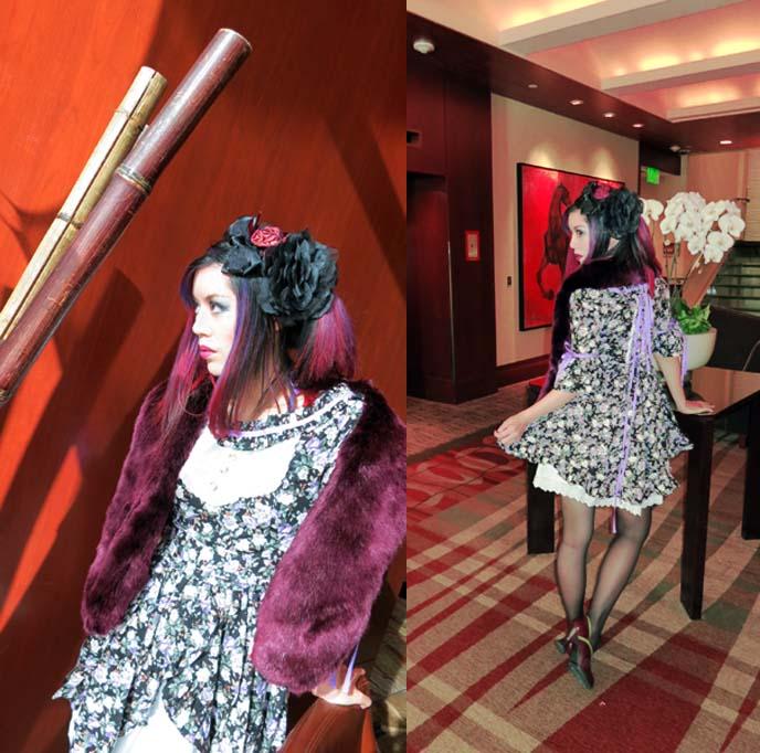 flower print gothic lolita dress