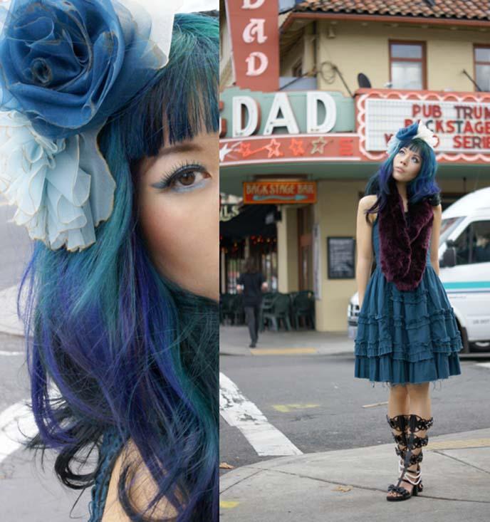 goth blue hair color, la carmina hairstyle