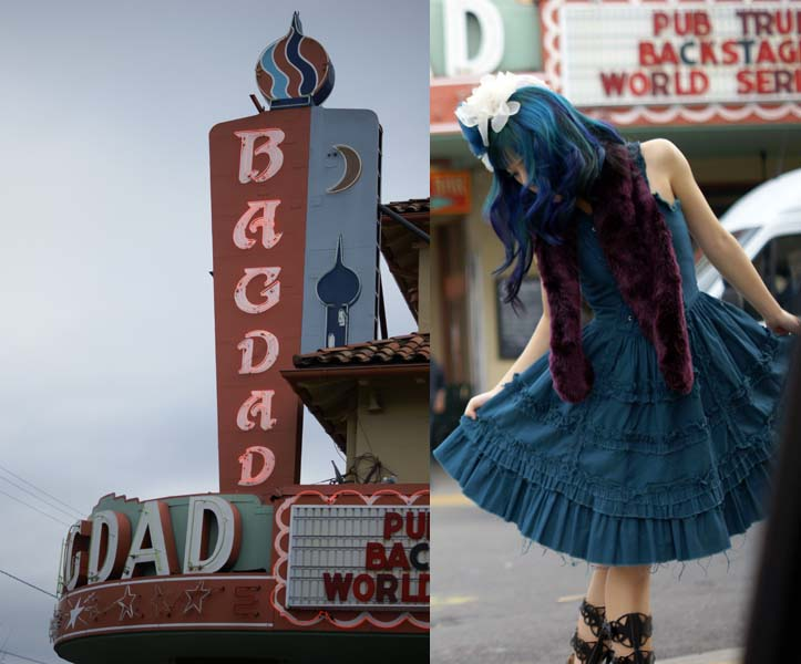 cut-out boots, turquoise hair