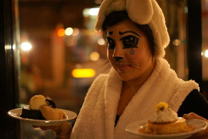 bunny costume, anime eyes, desserts