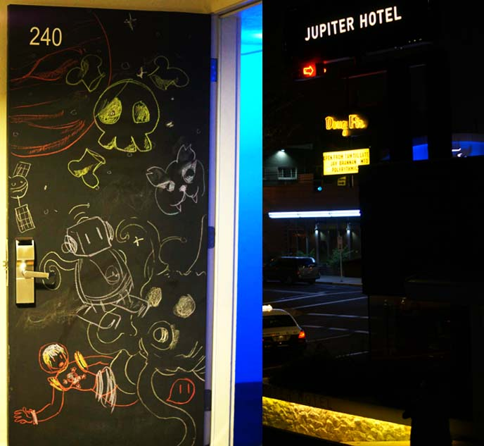 chalk art drawings, jupiter hotel doors