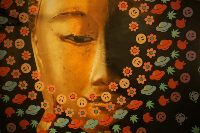 buddha rainbow mural