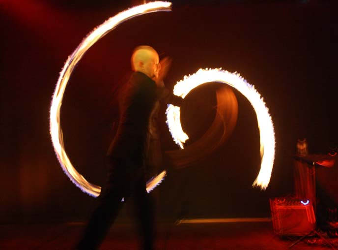 fire twirling, portland underground club
