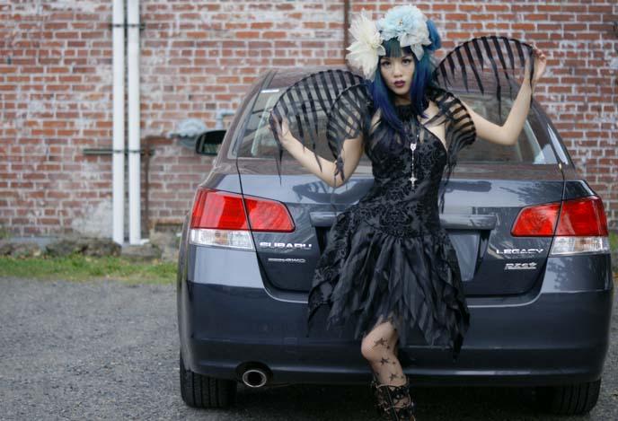goth dress, wings, halloween costume