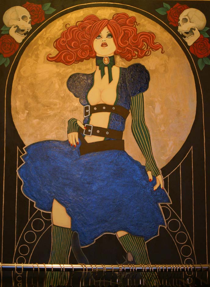 art nouveau steampunk girl painting