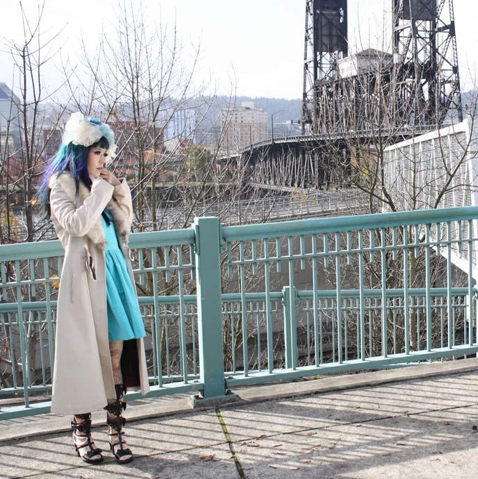 teal dress, light blue hair