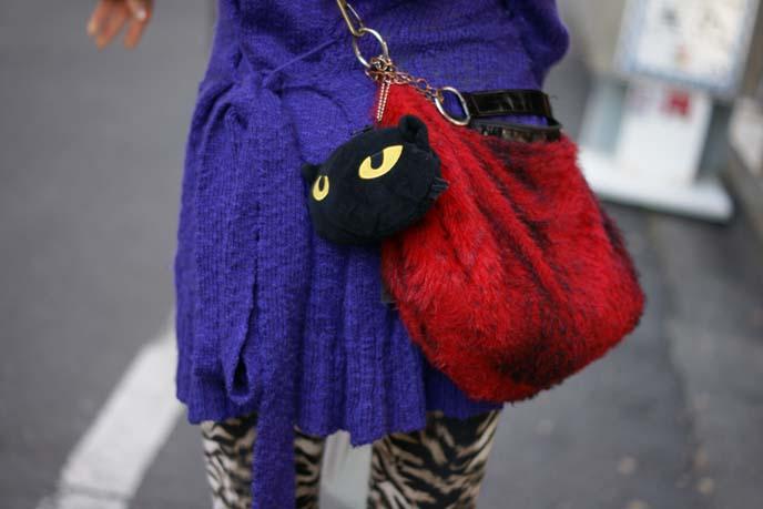 japan accessories, black cat purse