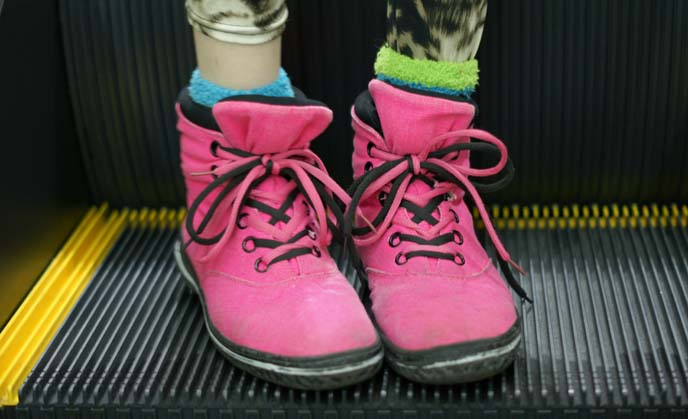 bright pink sneakers