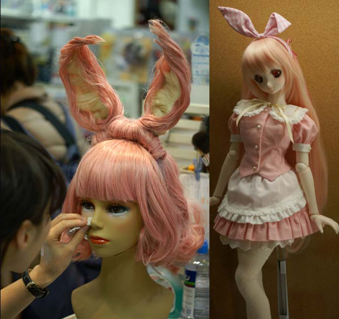 pink pastel wig, bunny ears hairstyle