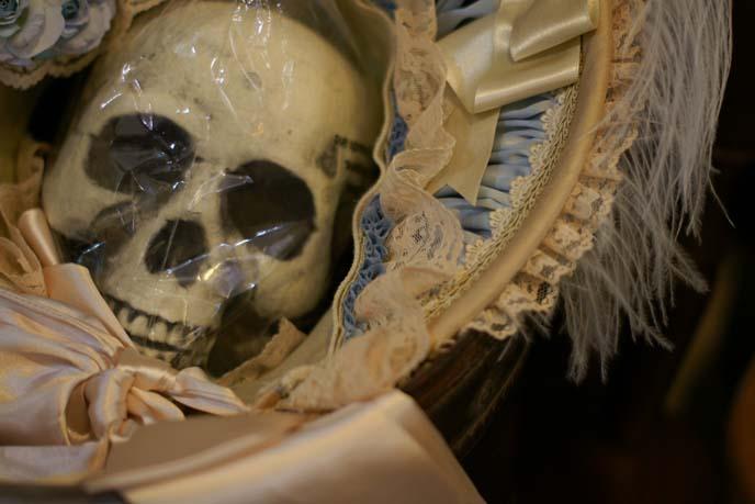 skull, victorian bonnet