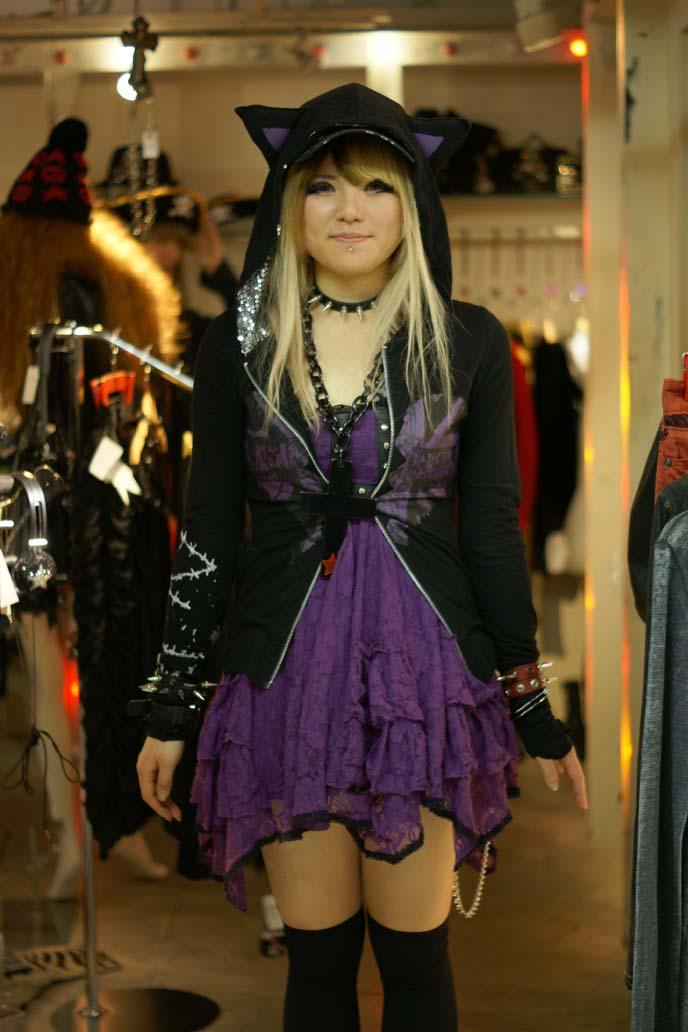 japanese shop girl, kitty ears jacket