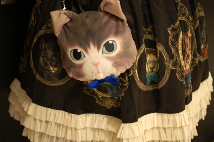cat face purse, egl skirt print