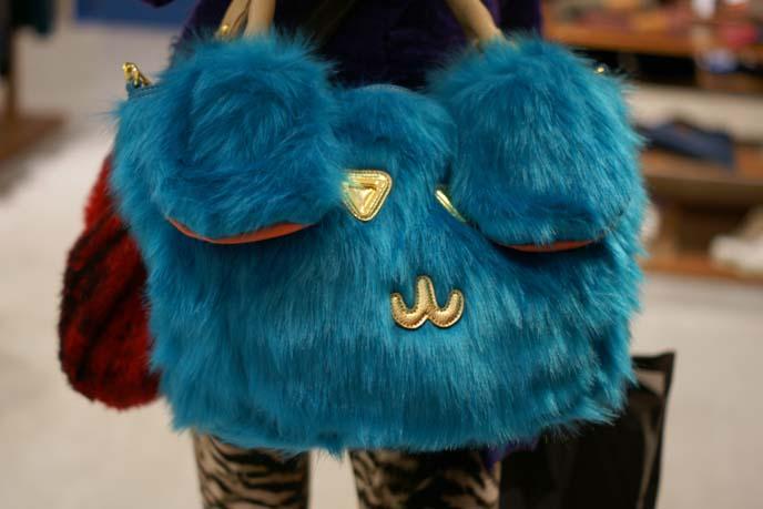 cute face purse, blue faux fur