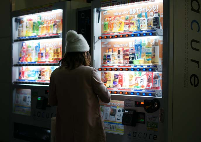 japanese girl, vending machines