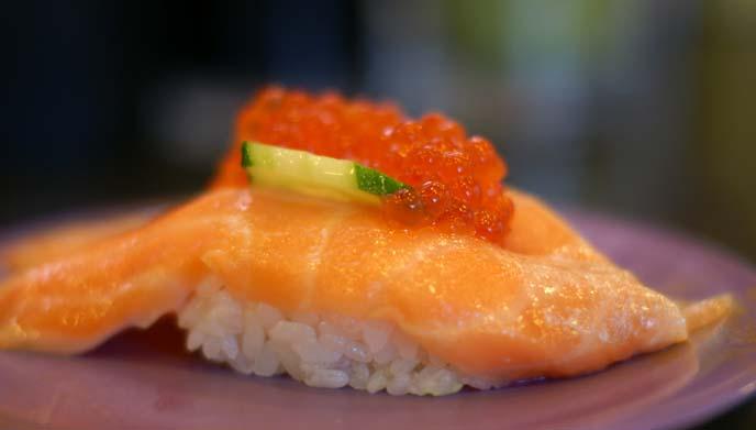 toro salmon sushi, ikura eggs
