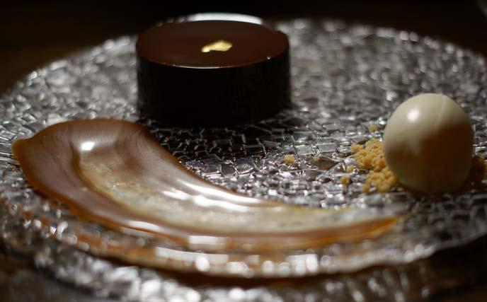 chocolate cake, ice cream, gold leaf