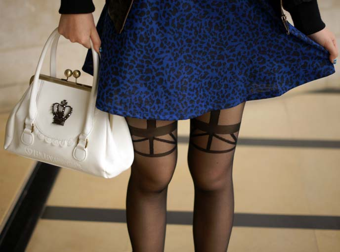 suspender print tights, british stockings