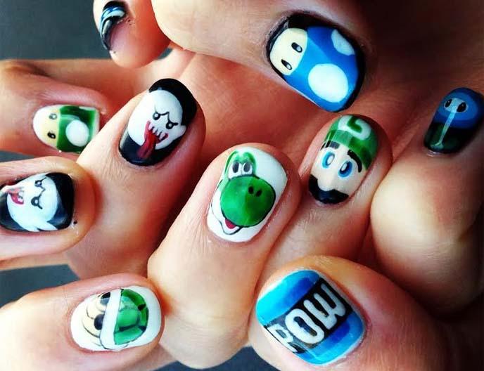 nintendo nail art, yoshi, luigi, super mario nails