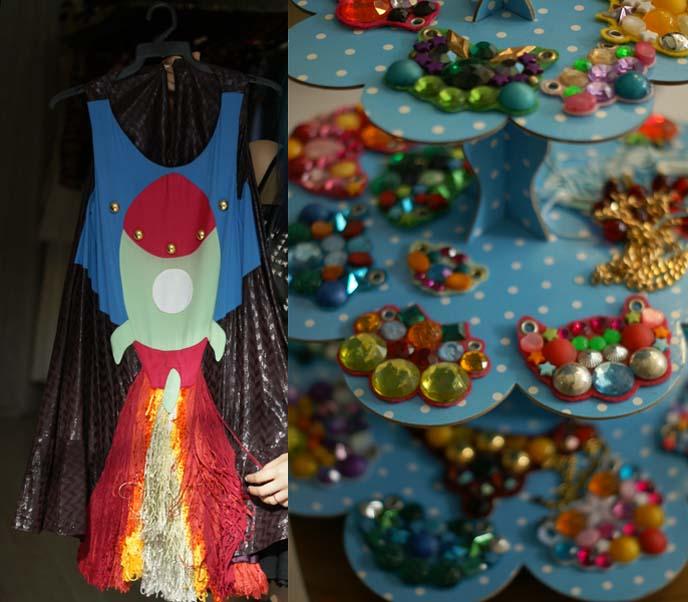 rocketship dress, space jewelry