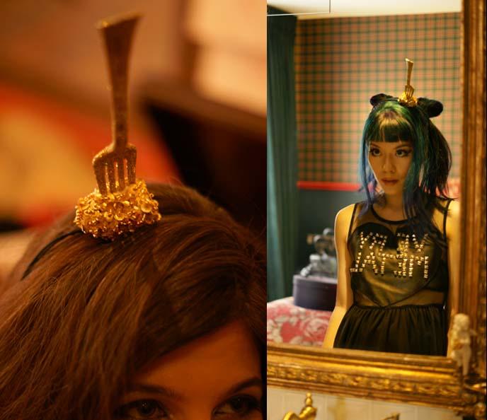 fork headband, lady gaga hats