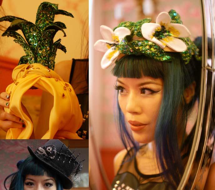 pineapple hat, sequin designer hats