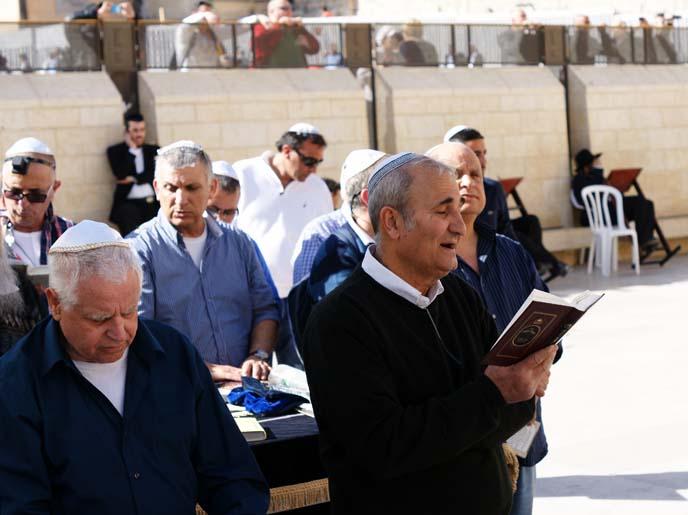 western wall, jewish men praying