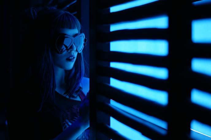mamilla spa, blue lit portrait