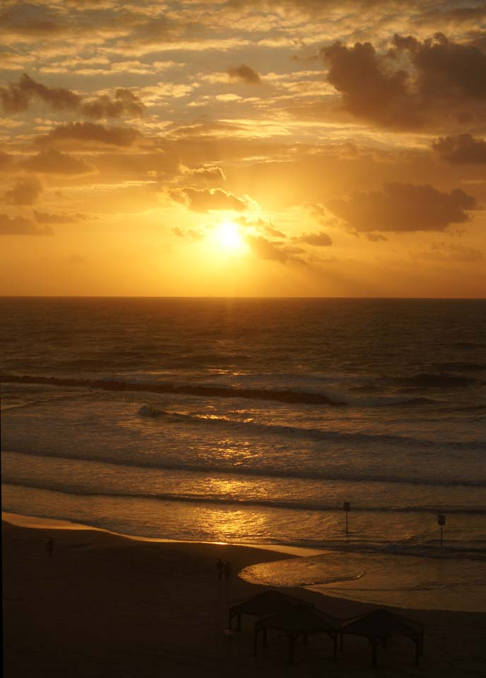 tel aviv beach sunset ocean, israel