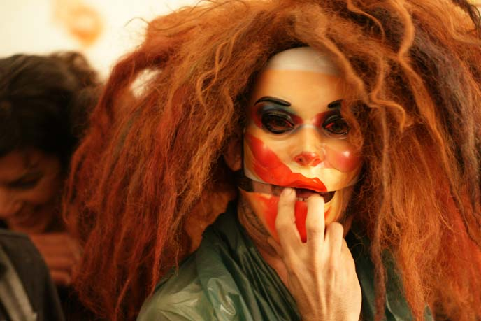 scary mask, dreadlocks wig