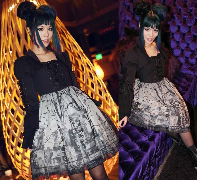 graveyard print lolita dress, oscars beverly hilton