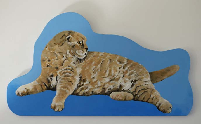 cat lying on side painting