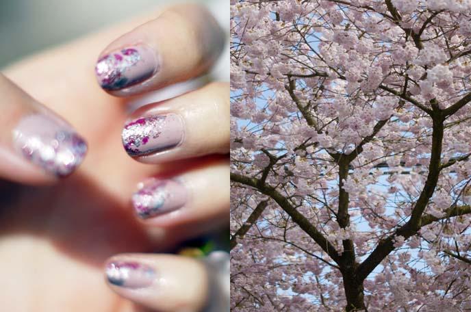 cherry blossom nail art, sakura nails