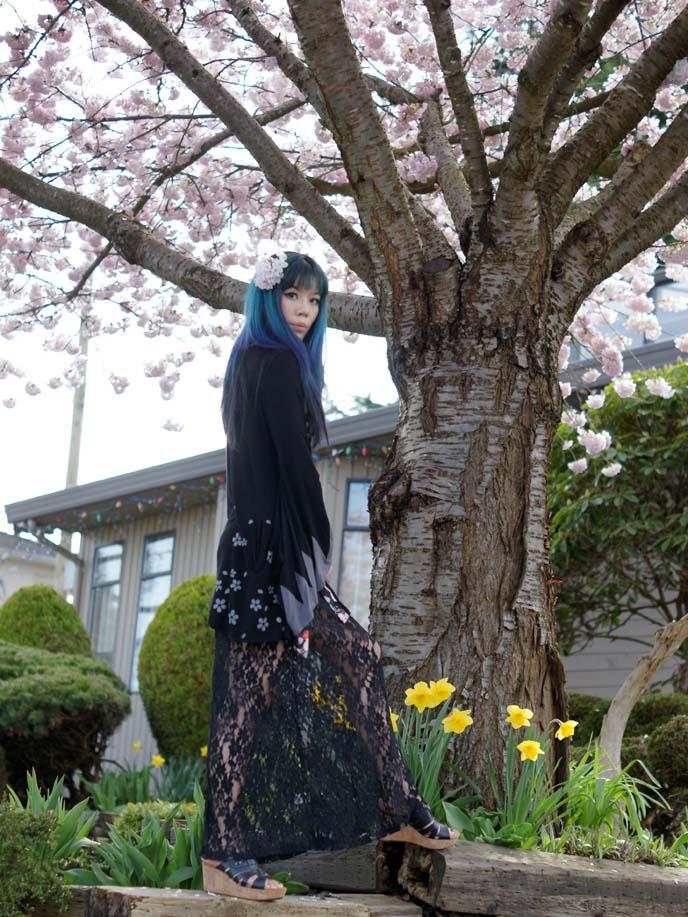 hanami outfit, spring kimono