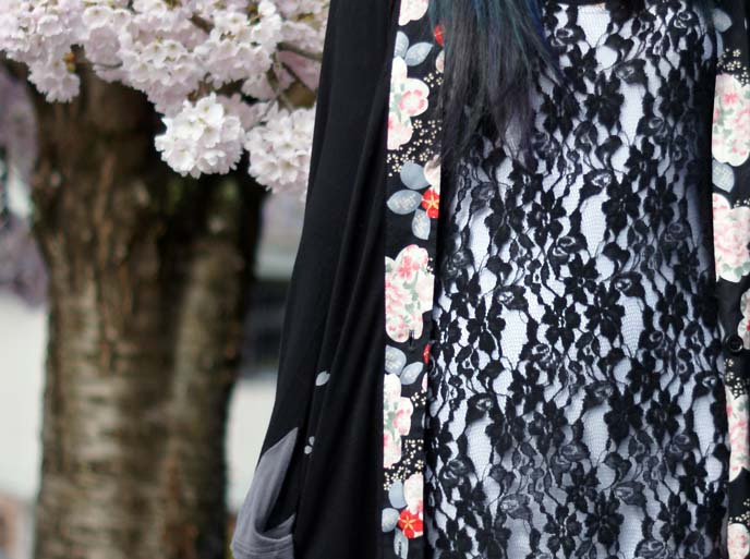 lace sheer dress, flower kimono jacket