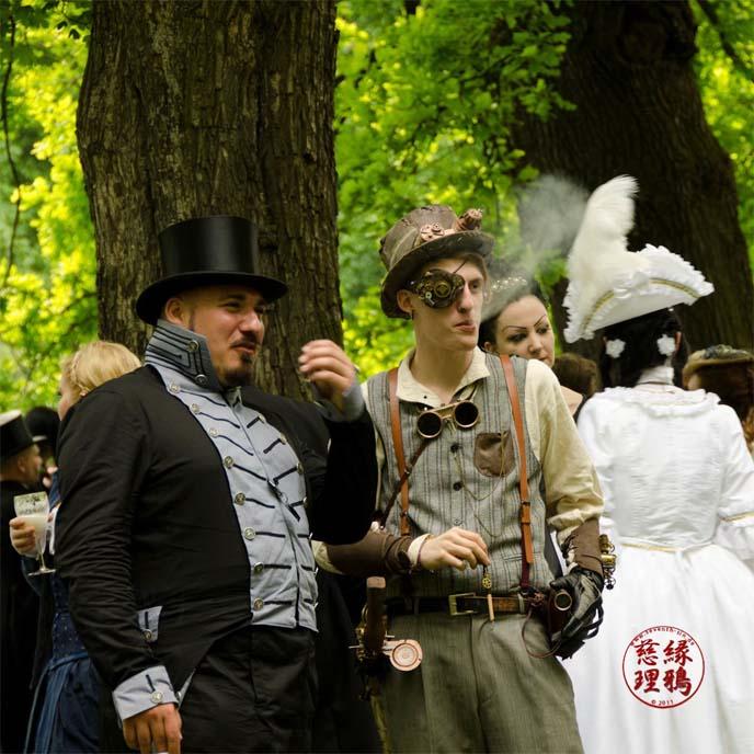 steampunk men, top hats, eyepatch
