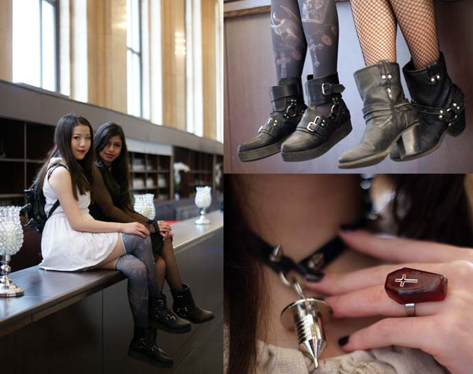 goth fashion outfit post, boots