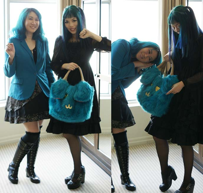 blue hair girls, gothic lolita hairstyle