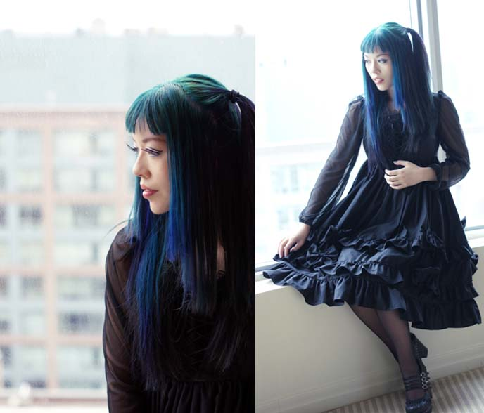 green blue hair ombre, goth model