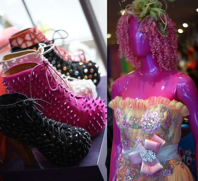 spiked high heel shoes, rainbow corset