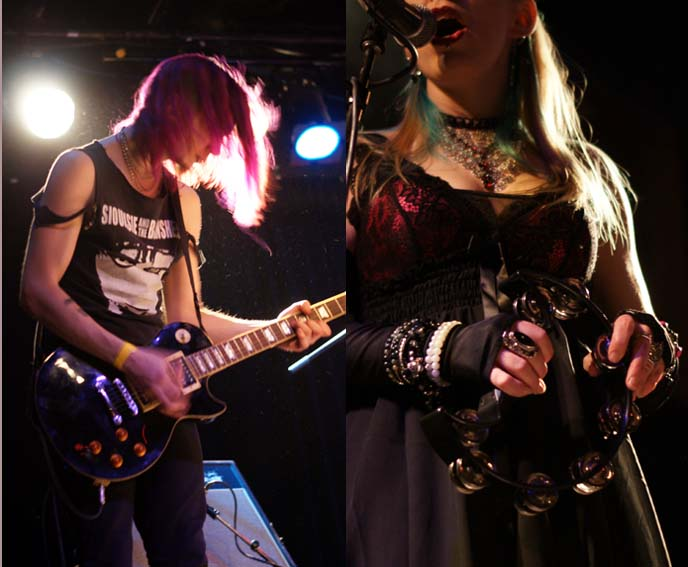 purple hair goth boy, guitarist