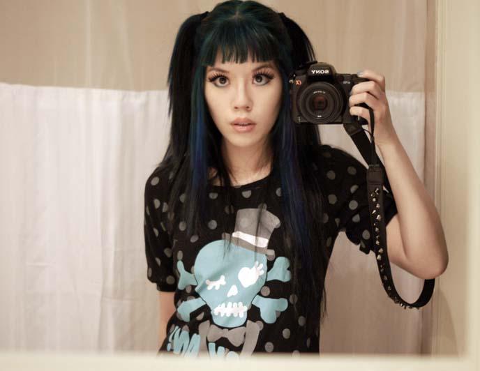 pastel goth polka dot shirt, teal skull